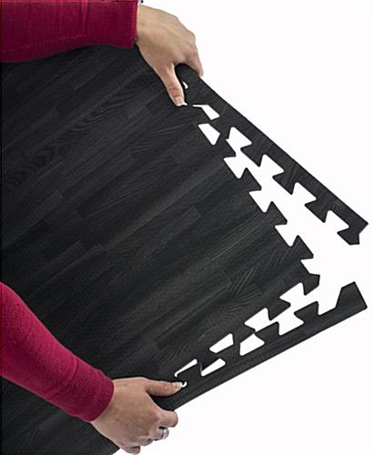 Black Wood Grain Floor Mats, Non-Toxic & Odor Free