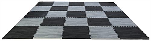 Black & Gray Wood Grain Floor Mats 10' x 10' Area