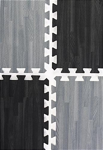 Black & Gray Wood Grain Floor Mats Soft Foam Tiles