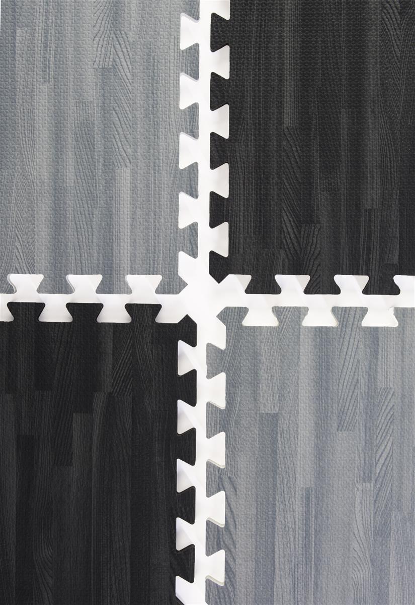 Black Gray Wood Grain Floor Mats