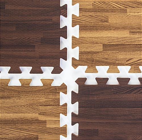Interlocking Foam Faux Wood Flooring Checkered Cherrydark Oak