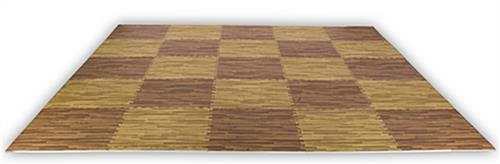 Dark Oak & Light Oak Wood Grain Floor Mats, w/ Jigsaw Pattern