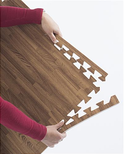 Cherry & Dark Oak Wood Grain Floor Mats, w/ Jigsaw Pattern