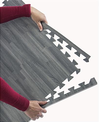 Black & Gray Wood Grain Floor Mats, Anti- Fatigue