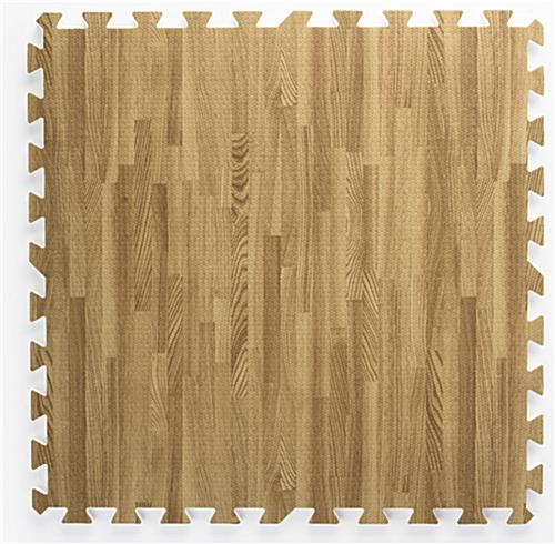 Light Oak Wood Grain Floor Mats w/ Jigsaw Pattern