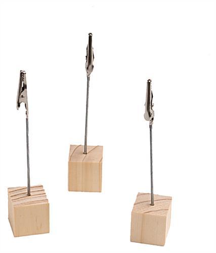 Wooden Note Holder | Metal Alligator Clip & Wooden Base