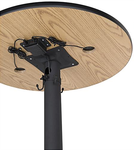 Wireless charging tall round table with USB power hub