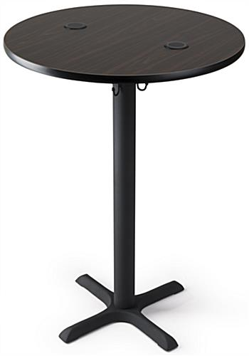 Wireless charging cocktail table with mocha walnut finish