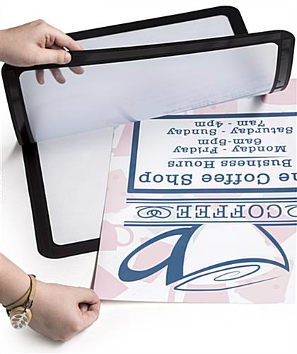 Magnetic border self-adhesive sign frame