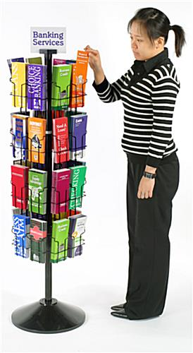 "Rotating Display 32 Pockets Hold 4"" x 9"" Brochures"