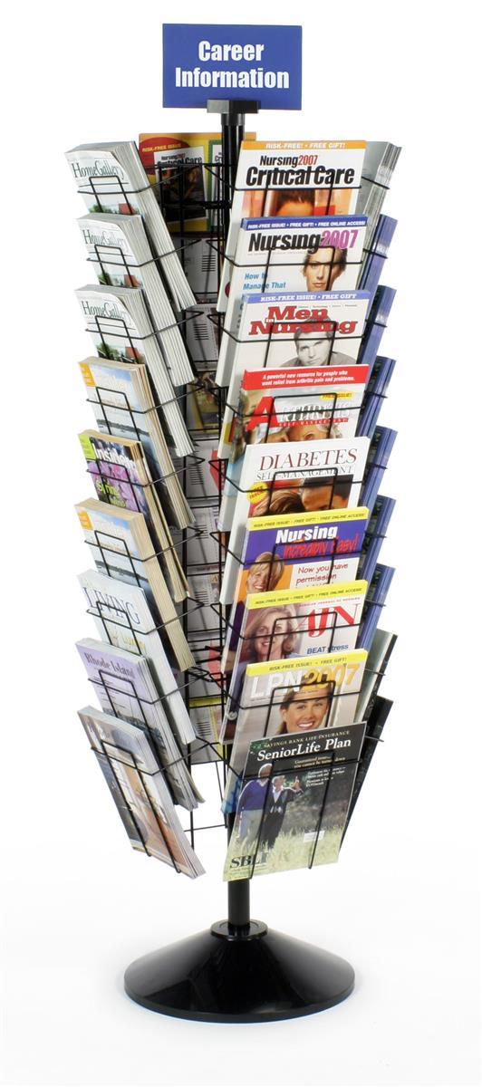 Floor Standing Magazine Rack Tiered Rotating Fixture