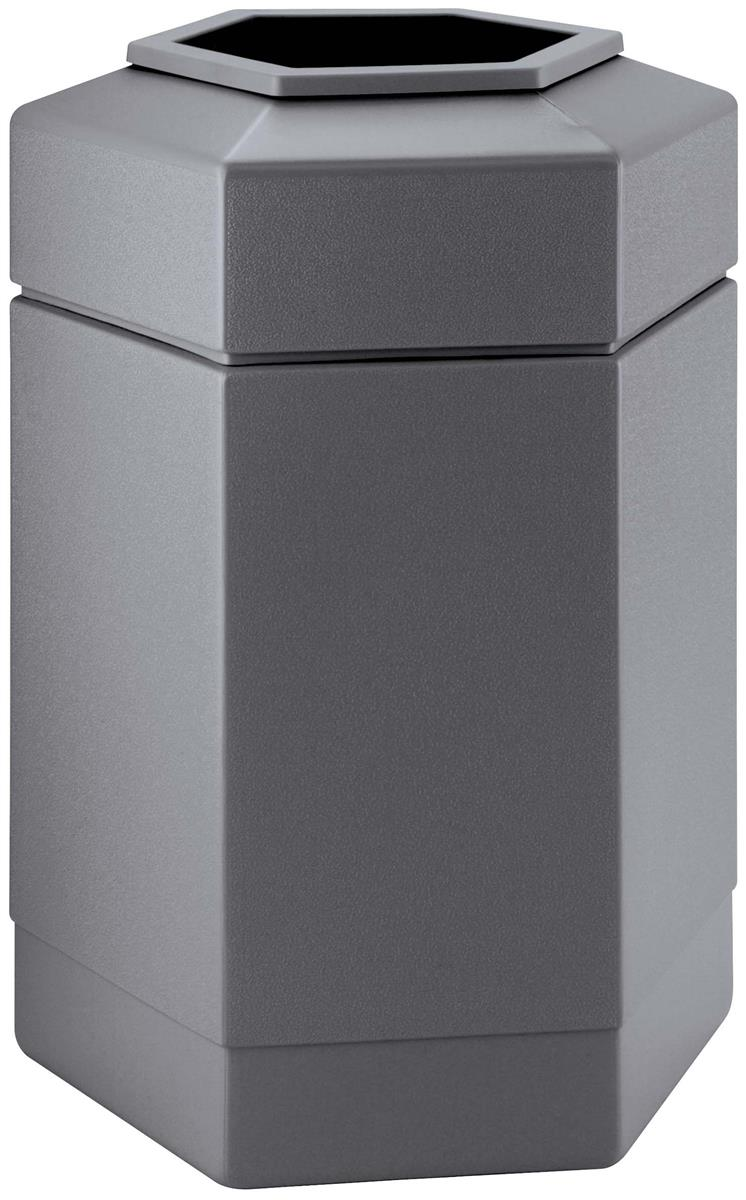 gray waste receptacle hexagonal trash can