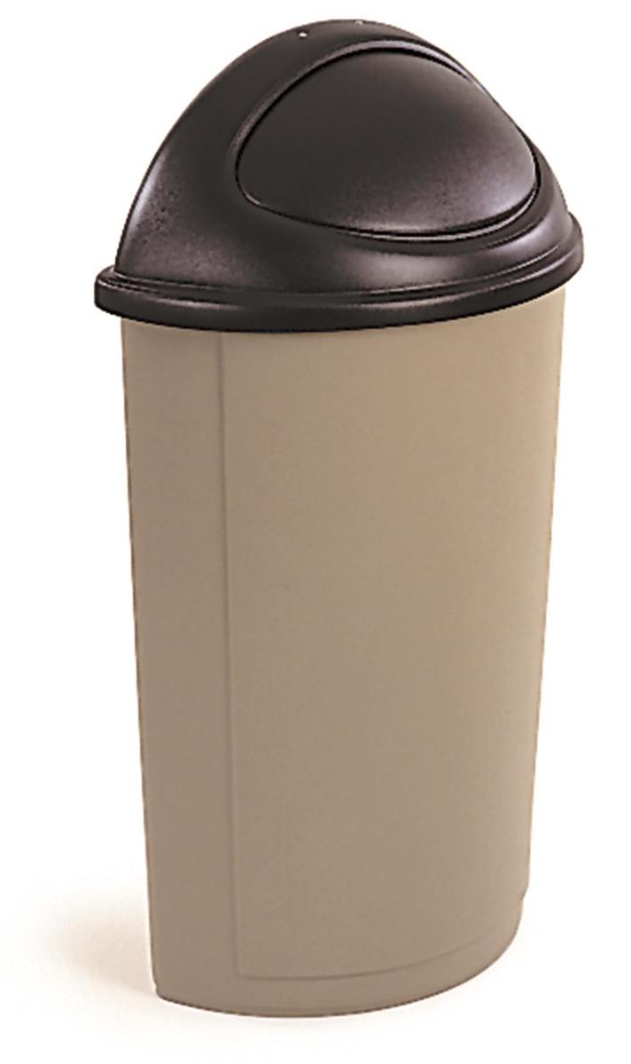 Beige Waste Container Hands Free Push Open Lid