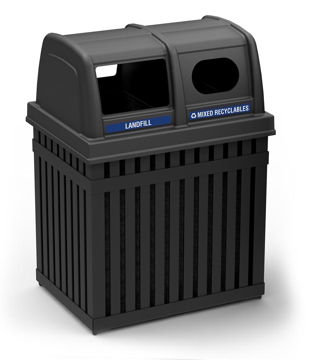Dual Recycling And Garbage Container Waste Management Kiosk
