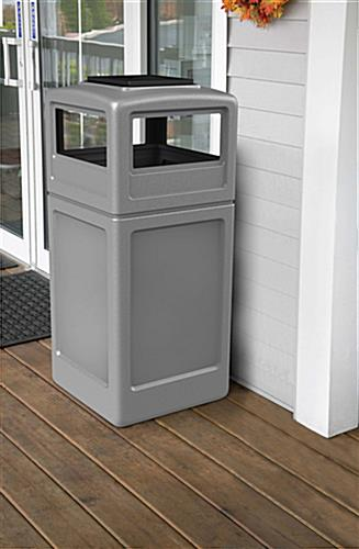 Outdoor Gray Trash Can with Ash Tray