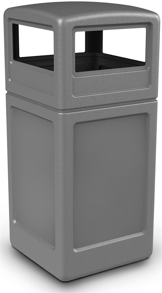 Gray Trash Container Garbage Bin With Lid