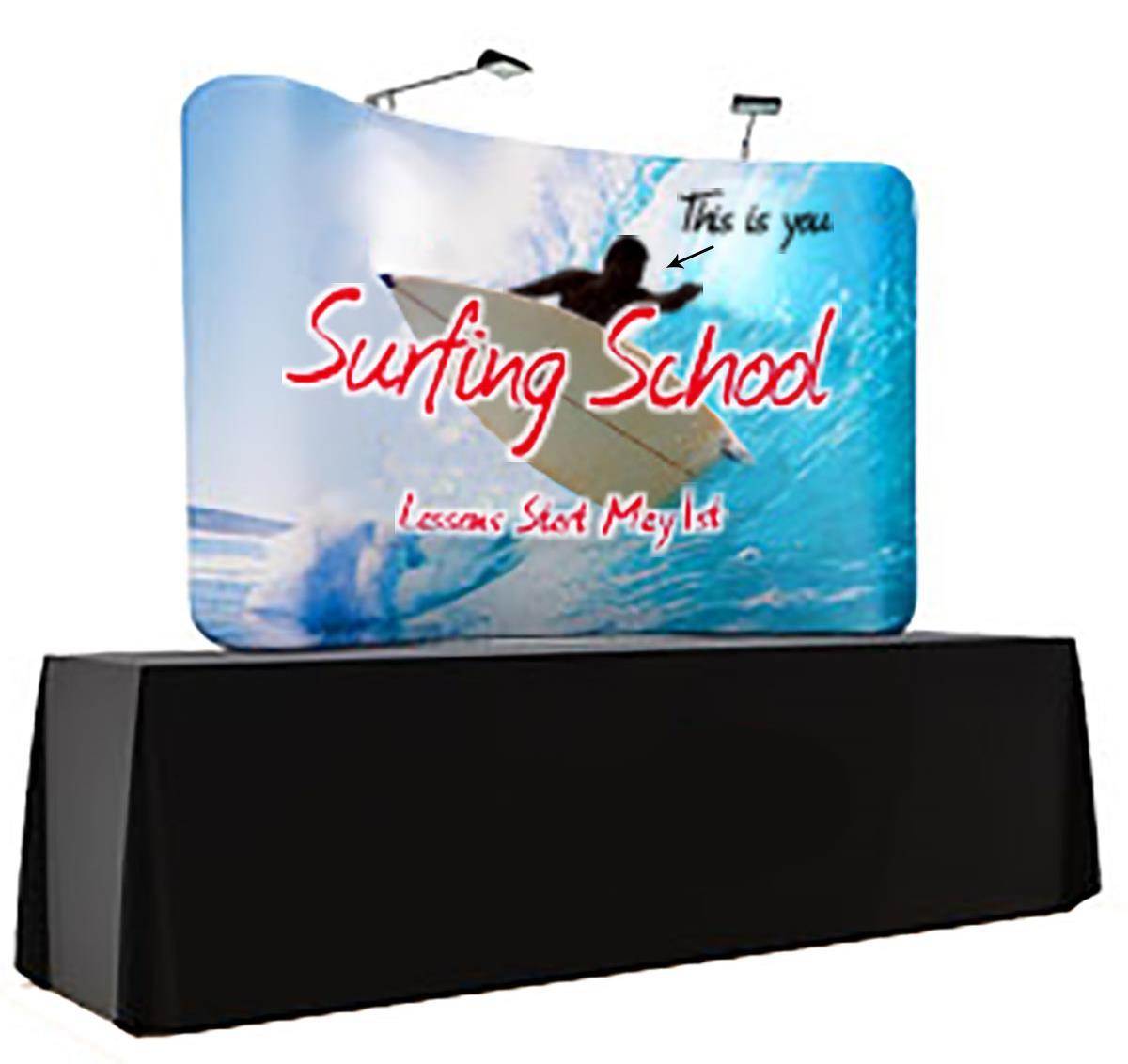 7 5 x 5 custom print table top display curved design