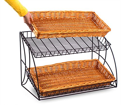 wire rack with wicker baskets
