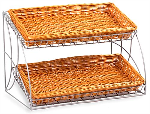 Basket Rack w/2 Willow Baskets Included