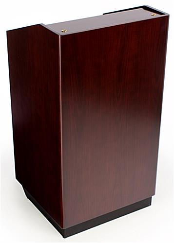 Lectern: Red Mahogany Veneer w/locking doors