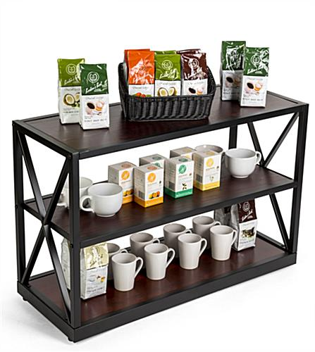 x-frame media bookshelf for café supplies and drinkware
