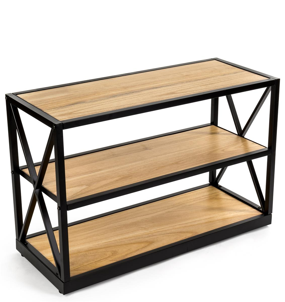 Steel Frame X Sided Shelving Unit With 3 Solid Wood Tiers Open Back Natural