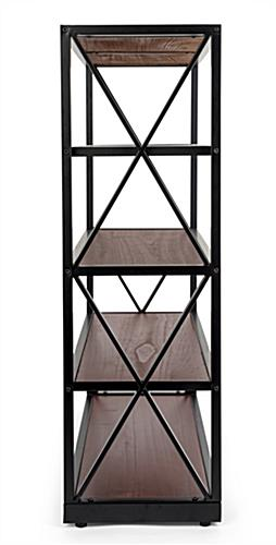 wood and metal display shelving for vertical storage
