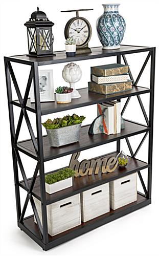 wood and metal display shelving with ample space