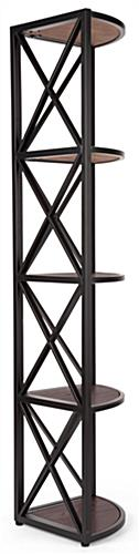 Rustic x frame metal corner unit with 5-tiers