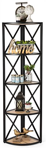 Commercial 5-shelf rustic corner display rack