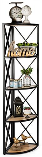 Natural 5-shelf rustic corner display rack