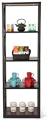 X-sided 5-tier industrial rustic shelving unit