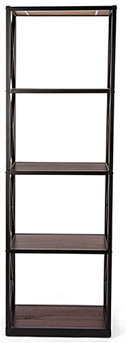 5-tier industrial rustic shelving unit with steel frame