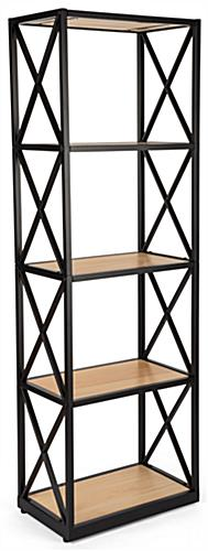 Industrial rustic 5-tier shelving unit with natural stain