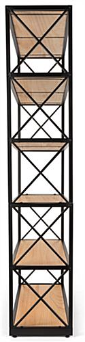 Rustic ironworker industrial shelves with x sided design