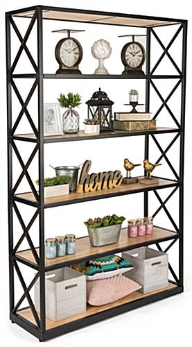 Rustic ironworker industrial shelves with natural stain