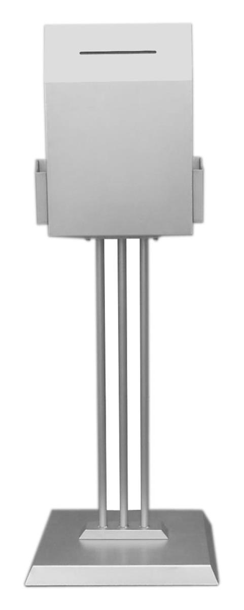 Displays2go Metal Ballot Box with 2 Side Pockets & Lock, ...