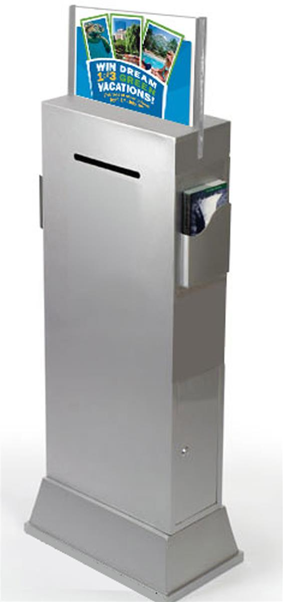 Floor Standing Voting Box Brushed Silver Finish
