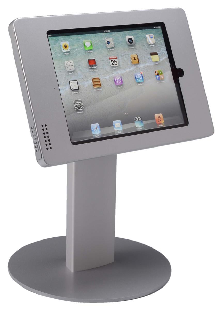 Silver Ipad Counter Stand Dual Locking Bracket Amp Round Base