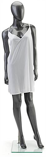Full Body Silver Female Mannequin with Glass Base