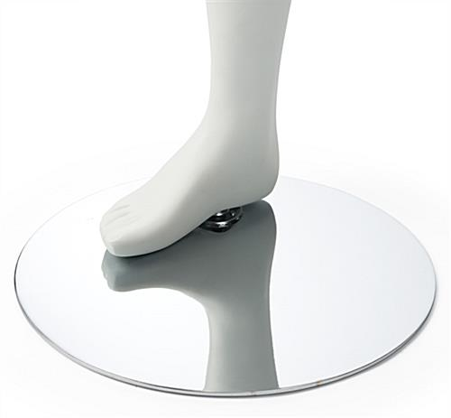 Matte White Yoga Mannequin with Chrome Metal Base & Heel Peg