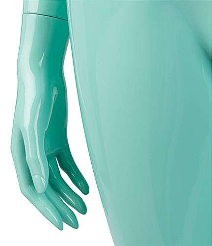 Blue Glossy Mannequin with Detailed Fingertips
