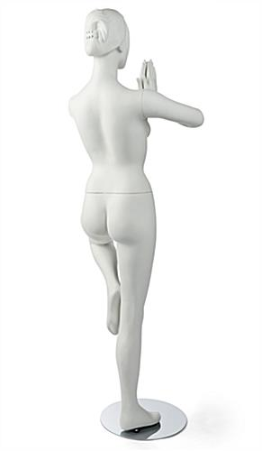 Back View of Matte White Yoga Mannequin