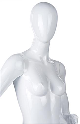 Adult female retail mannequin in high gloss white