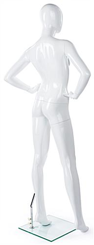 Adult female retail mannequin with tempered glass base