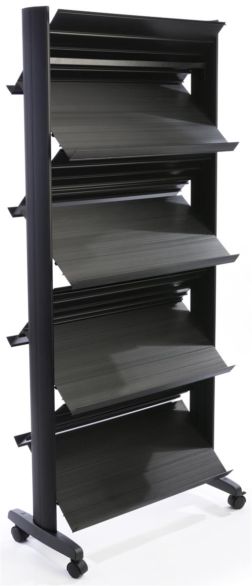 rolling shelf rack rolling magazine rack eight adjustable shelves 25636