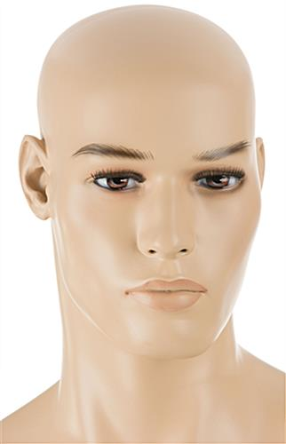 Fiberglass Male Mannequin with Realistically Painted Facial Features
