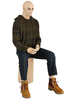 Seated Male Mannequin with Athletic Build