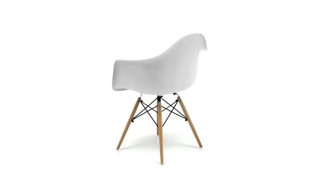 360 View: Wood Base Plastic Side Chair