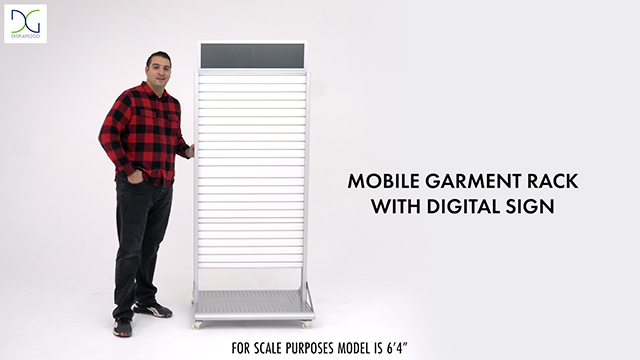 Rolling Slatwall Stand with Sign Holder